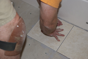 placing tile